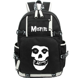 Wholesale Punk Music - The misfits backpack Hard punk daypack Rock band schoolbag Music rucksack Sport school bag Outdoor day pack