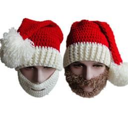 Wholesale Yarn Santa - New Christmas Warm Crochet Hats Men Women Adult Full Santa Claus Beard Beanies Mustache Mask Face Knitted Winter Ski Beard Hats Y008