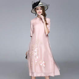 Nuevo vestido de organza de algodón bordado paillette de algodón de primavera falda A980 desde fabricantes