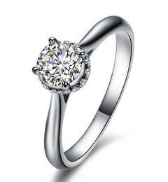 joyería sólida 14k Rebajas Joyas de lujo 1 Ct sona Diamantes simulados enganches para mujer, anillo de bodas chapado en oro blanco macizo de 14K, anillos de plata