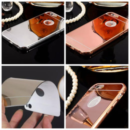Wholesale Iphone 4s Metallic - Aluminum Alloy Bumper Frame +Luxury Mirror Bling Metallic Hard Case For Iphone 7 7Plus 6 6s Plus SE 5 5S 4 4S 2in1 Hybrid Plating Back Skin