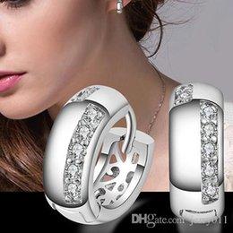 Wholesale Ear Hoop Stud Earrings - 2016 Hot Women's Wedding Party Zircon Silver Plated Ear Studs Hoop Huggie Earrings Jewelry Chrismas Gift