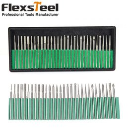 Wholesale Diamond Carving Tools - 30PCS 3MM Shanks Precision Engraving Carving Grinding Tool Diamond Burr Drill Bits for Nail Drills Jewelry