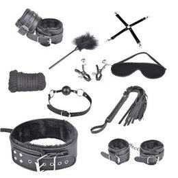 Wholesale Masked Gagged Woman - 10-in-1 BDSM Bondage Restraints Gear Kit Slave Trainer Gags Rope Whip Collar Hand Leg Cuffs Eye Mask Cross Clamps Sex Toys for Women