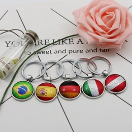 Wholesale Bag Glasses - Football Keychains World Cup 32 Teams Glass Cabochon Soccer Car Keyholder Bag Accessories Russia 2018 Country Flags Keyings Wholesale