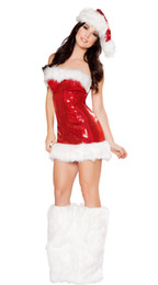 Wholesale Sexy Christmas Lady Outfits - Ladies Sexy Santa Christmas Sequin Romper Leg Warmers Fancy Dress Costume Outfit 88718 one size S-L