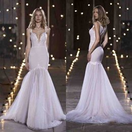 Wholesale Dotted Wedding Gown - Nurit Hen Beach Wedding Dresses Deep V Neck Hollow Back Sweep Train Mermaid Wedding Dress Lace Applique Dot Plus Size Bridal Gown