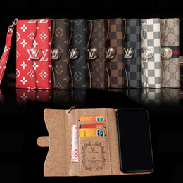 Wholesale hand phones - Luxury brand flip wallet case PU leather phone holster for iphone X 7 7plus 8 8plus card slot hand rope for iphone 6 6S 6plus