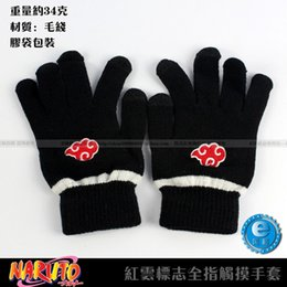 Wholesale naruto finger - Wholesale-Anime Naruto Akatsuki Member Red Cloud symbol Full finger Plush knit gloves winter warm handschoenen Free shipping