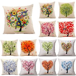 Wholesale Blue Couches - Tree of Life Cotton Linen Colorful Cushion Covers Modern Warmth Home Decorative Art Throw Pillow Case on Couch Housse Coussion