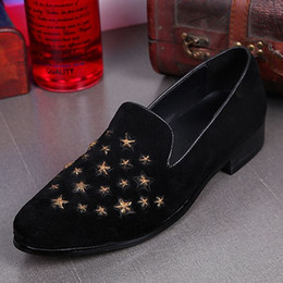 Wholesale Mens Punk Loafers - Genuine Leather Slip on Fashion Mens Sexy Spike Punk Studded rivet Loafer flat shoes