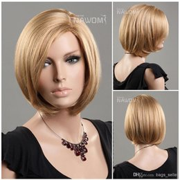 Wholesale Wig Blond Short - short blond hair wig for women bob wigs miss wigs Synhetic fiber of 100% Kanekalon 1pc Lot Free Shipping 0729ZL984-BS24B