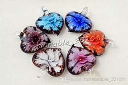 Wholesale Murano Pendants 3d - Heart Multi-Color Lampwork Murano Glass Flower 3D Pendants Necklaces Wholesale Retail FREE #pdt43