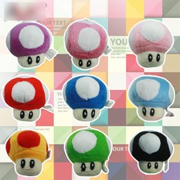 Wholesale Super Mario Key Chain - Free EMS 9 Color Super Mario Bros Mushroom With Key Chain Plush Doll 2015 new children Cartoon Super Mario Plush toys B