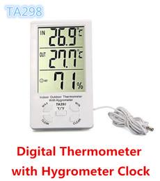 2019 termômetro digital a cores Atacado KTJ TA298 TA 298 Interior / Outdoor Digital LCD Termômetro com Higrômetro relógio umidímetro cor branca Frete Grátis desconto termômetro digital a cores