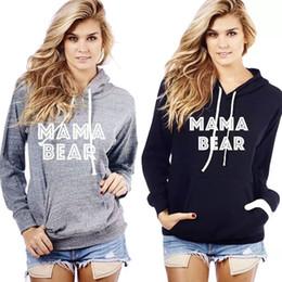 Wholesale V Bearings - MaMa Bear Letter Printed Casual Women Long Sleeves Baseball Hoodie Sweatshirt with Kangaroo Pocket Sports Hooded