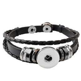 Wholesale Silver Black Charm Bracelet - P00650 Hot wholesale Snap Button Bracelets Newest Design Fashion NOOSA chunks Leather Bracelets Fit 18mm Noosa Chunk DIY Rivca Snaps Jewelry