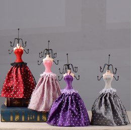 Wholesale Dress Jewelry Stands - New Dot Dress Lady Doll 5 color choose Jewellery Stand Earrings Necklace Display Organizer Holder Fashion Jewelry Rack