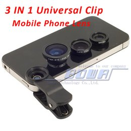 Wholesale Mobile Phones S4 - 1 pc,Universal 3 in 1 Clip-On Fish Eye Lens + Wide Angle + Macro Lens for iphone 4 4S 5G 5S 5C iPhone 6 S3 i9300 S4 S5 Note all mobile phone