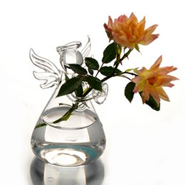Wholesale Wholesale Wooden Flower Vases - Hot New Cute Clear Glass Angel Shape Flower Plant Stand Hanging Vase Hydroponic Office Wedding Decor