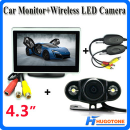Wholesale Wireless Rearview Camera Monitors - 4.3 Inch Car Wireless Rearview Camera Monitor Mini 2.4GHz Wireless 2 LEDS Parking Rearview Camera 2 Video Input Monitor System