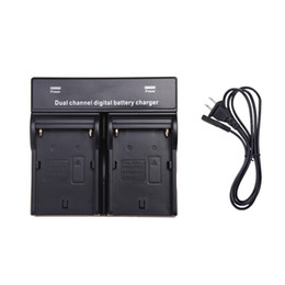 Wholesale np battery charger - 2014 Dual AC DC Digital Battery Charger for SONY NP-F970 F750 F960 QM91D FM50 FM500H FM55H Battery Camera Black