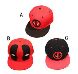 Wholesale Superhero Hats - Marvel Deadpool Hat 3 Design Superhero deadpool Snapback bone Aba Reta Costumes Cotton Baseball for Men Women Sports Hip Hop Cap B001