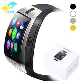 Смарт-часы android онлайн-Для Iphone 6 7 8 X Bluetooth Smart Watch Q18 Мини-камера для Android iPhone Samsung Smart телефоны GSM SIM-карты сенсорный экран