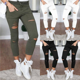 Wholesale Red Lace Tights - Women Skinny Ripped Holes Jeans High Waist Punk Pants Skinny Slim Tight Lace Up Gothic Leggings Trousers OOA3459