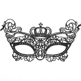 Wholesale Mysterious Black - Halloween Masquerade Mask Women Lovely Lace Crown Half Face Venetian Party Supplies Mardi Gras Masks Noble Mysterious For Christmas Balls