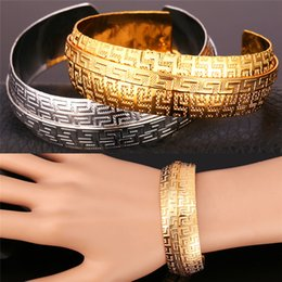 Wholesale vintage asian charm bracelet - U7 Vintage G Pattern Cuff Bracelet Perfect Gift For Women 18K Real Gold Plated  Platinum Plated Fashion Jewelry Accessories