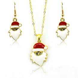 Wholesale Necklaces Sets Wholesale - Brand New Jewelry Sets Fashion Santa Claus Pendants Gold Plated Earrings Necklace Sets For Women Christmas Jewelry