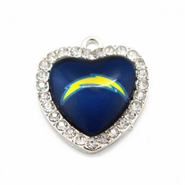 Wholesale Sports Team Jewelry - Football Sports Team Dangle Charms Heart Crystal Glass Pendant For DIY Jewelry women Necklace Bracelet Making