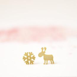 Sortes de boucles d'oreilles en Ligne-Mode 18K or argent Rudolf et flocon de neige boucles d'oreilles en gros livraison gratuite hiver renne trois sortes de couleur