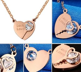 Wholesale Rose Gold Heart Lock Necklace - Newest Design Fashion Hot Selling IP Rose Gold stainless steel heart Lock Love Key Crystals Necklace Pendant Women Jewelry Gift