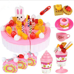 Wholesale Pretend Birthday Cake - Wholesale- Hot DIY Kitchen Cookware Set fruit birthday cake honestly Children play house toy creative educational toy Pretend gift for kids