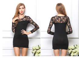 Wholesale Long Dresses Low Prices - Lowest Price Sexy Women Black Lace Dress Long Sleeves Slim Floral Bodycon Party Cocktail White Lace Dresses Tunic V Neck Mini Dress P1383