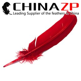 Wholesale Cheap Turkeys - Gold Supplier CHINAZP Crafts Factory Cheap Wholesale 30~35cm(12~14inch) Top Quality Dyed Red Turkey Rounds Quill Feathers