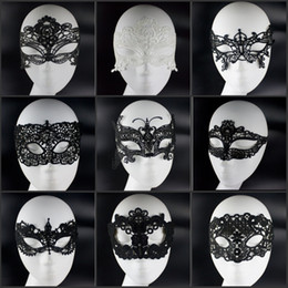 Wholesale Celebrity Style Jewelry Wholesale - 100pcs lot Queen Princess Styles Black White Lace Masquerade Celebrity Face Masks For Halloween Xmas Party Decorations Jewelry Supplies