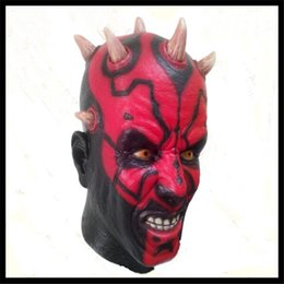 Wholesale Scary Mask Deluxe - Free shipping Halloween Party Cosplay New Adult Star Wars Deluxe Darth Maul Latex Halloween Mask Full Head Mask Cosplay scary horror mask