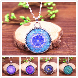Wholesale Light Blue Diamond Necklace - FLOWER OF LIFE Pendant Light Blue Pendant Spiritual Jewelry Mandala Necklace Yoga Pendant Jewelry Metaphysical Sacred Geometry Necklace