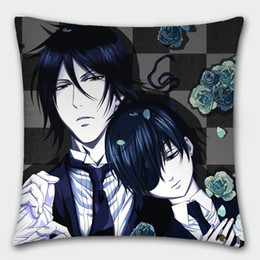 Wholesale Hot Anime Pillowcase - Hot Japanese Anime Pillowcase Black Butler Sebastian Michaelis Ciel Phantomhive Pillow cover Pillow case 40cmx40cm