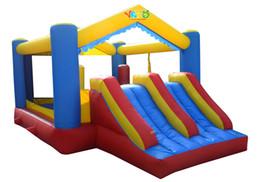 Cour double toboggan maison de rebond gonflable videur combo cavalier moonwalk château gonflable utilisation résidentielle trampoline jouets avec ventilateur ? partir de fabricateur