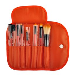Wholesale Red Hair Brushes - Makeup Brushes Make Up Brush Set Kits Eyelash Brush Blush Brush Eye-shadow Brush Sponge Sumudger 7pieces Make Up Tools PU Bag