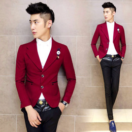 Wholesale Casual Dress Coat Men - Spring badge slim blazer coat casual male married evening dress red