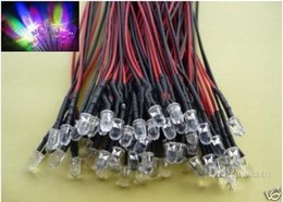 Wholesale 5mm Pre Wired Led - free shipping 50pcs RGB fast Flashing 5mm LED Pre Wired Light 12V Lamp Bulb