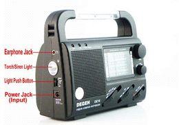 Wholesale Emergency Radio Degen - DEGEN DE16 FM FML MW SW hand Crank Dynamo Solar Emergency alarm Radio LED light World Receiver four power supply charge phone