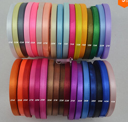 Wholesale Mix Colors Ribbon 6mm - 500yards lot 1 4''(6mm) single face satin ribbon polyester ribbon 20roll(25yaard roll) mix 10 colors 120 colors can option gift packaging we