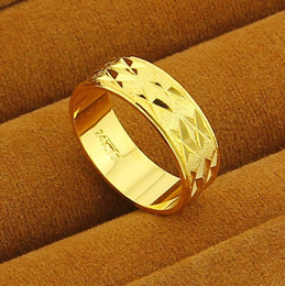 Wholesale 24k Gold Wedding Rings Wholesale - New Arrival!! Fashion 24K GP Gold Plated Mens&Women Jewelry Ring Yellow Gold Golden Finger Ring Free Shipping YHDR014