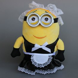 Wholesale Despicable Maid - Cartoon Movie Despicable Me Maid Minion Toy Black Skirt Minions Plush Stuffed Doll 28cm 11'' Classic Toys Christmas Gift 50 pcs